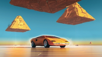 Lamborghini Countach Pyramids Wallpaper