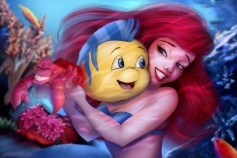 The Little Mermaid With Flounder 4k Wallpaper
