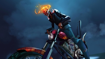 Ghost Rider With Bike Wallpaper