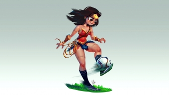 Wonder Woman Playing Football Wallpaper
