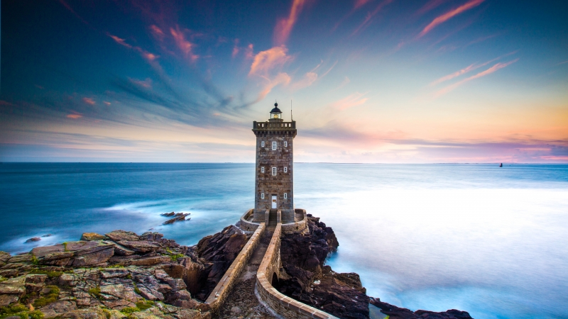 Coastline Lighthouse Blue Hour 4K 5K Wallpaper