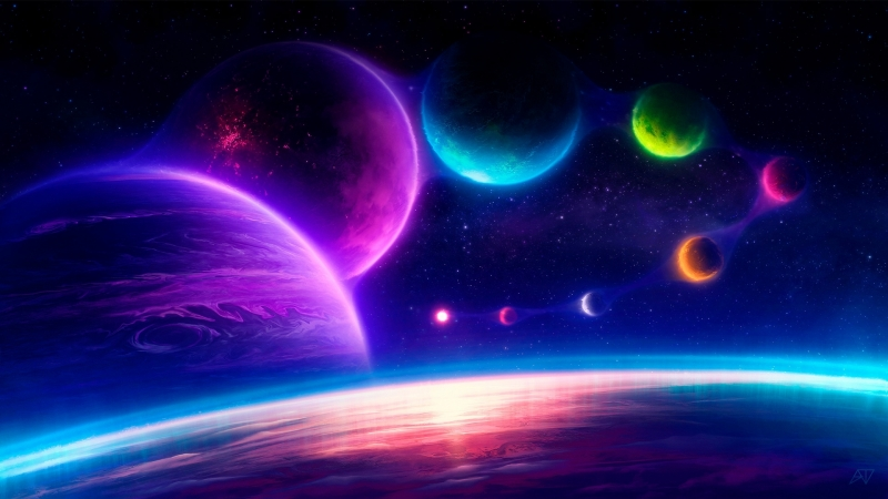 Jelly Sky Planets Wallpaper