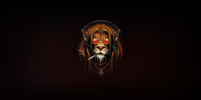 Lion Smoking Artwork Wallpaper