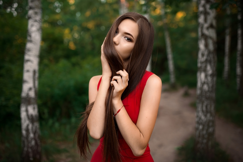 Red Dress Gorgeous Girl Hairs On Face 4k Wallpaper