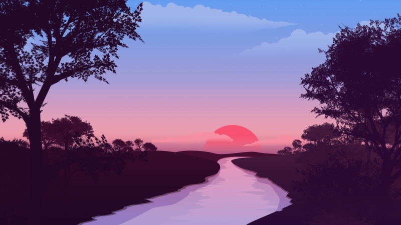 Small Lake Red Sunset 4k Wallpaper