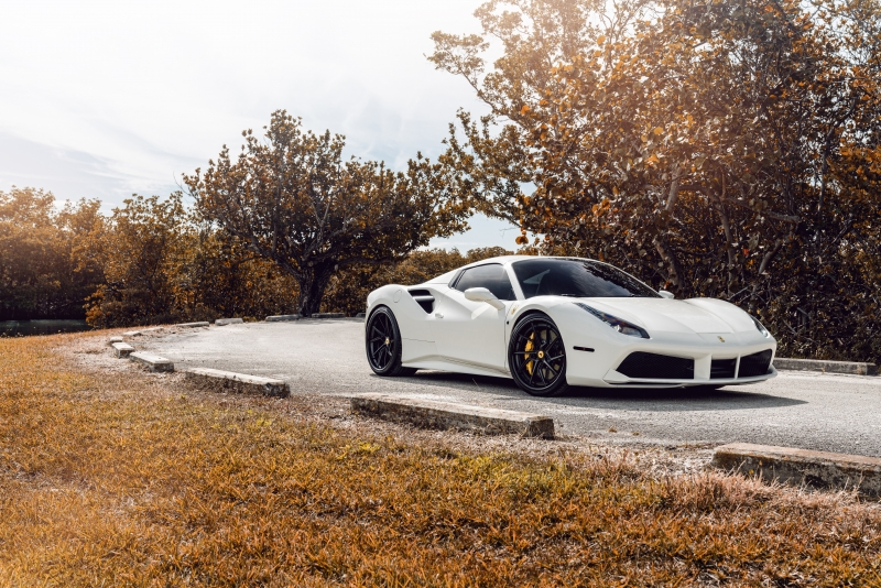 White Ferrari 488 8k Wallpaper