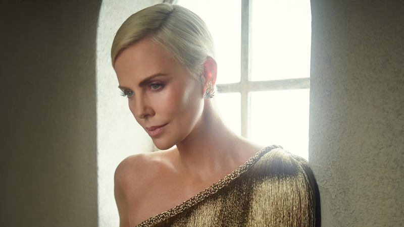 Charlize Theron Vanity Fair Oscar Portrait 4k Wallpaper