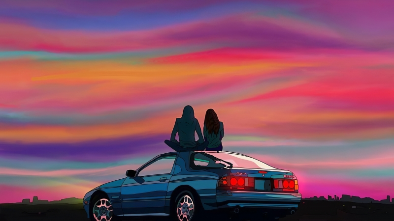 Couple Sitting On Car Evening Talks 4k Wallpaper