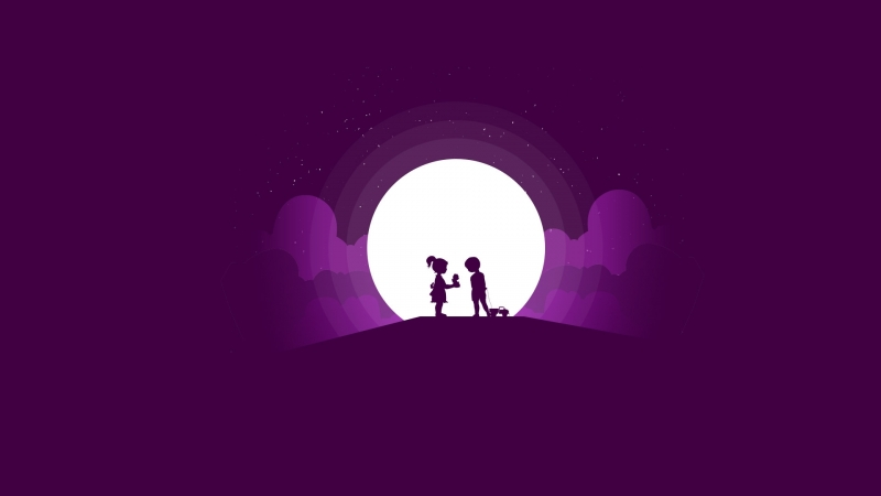 Cute Kids Couple Minimal Silhouette Wallpaper
