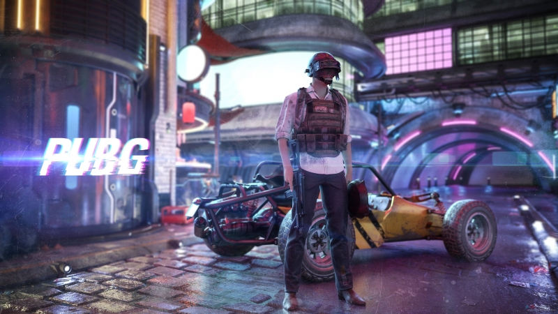 Cyberpunk PUBG 4K Wallpaper