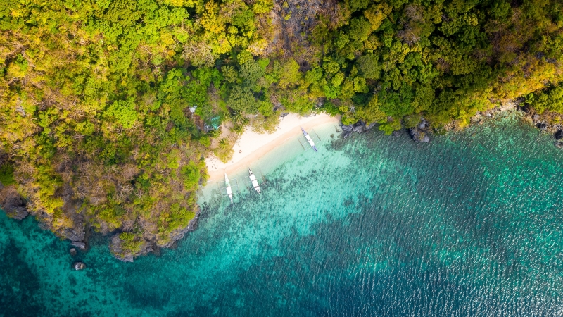 Tropical Beach Aerial View 4K Wallpaper