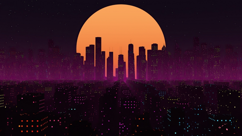 Retrowave City Sunset 4k Wallpaper