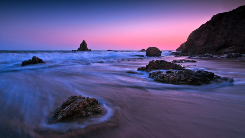 Earth Ocean Rock Sunset Long Exposure 4K 5K HD Wallpaper