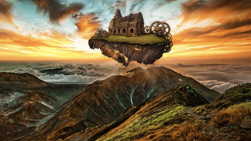 Mountains Building Engine Gears Steampunk 4K HD Wallpaper