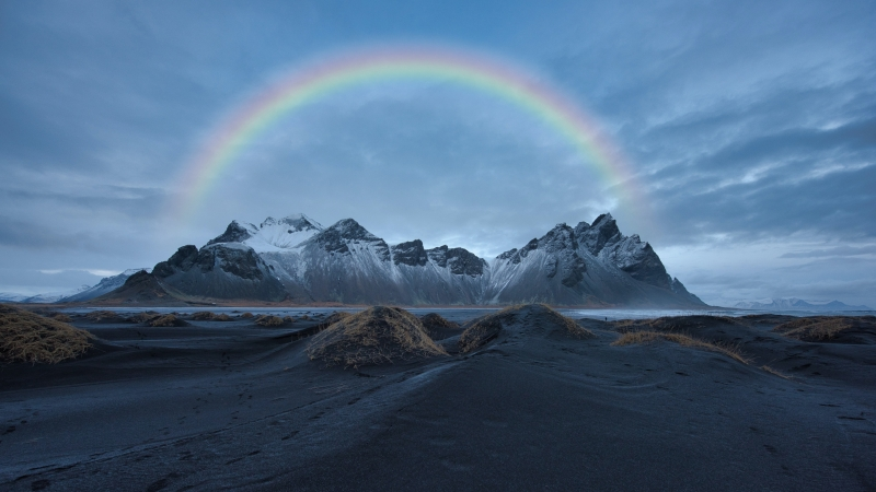 Rainbow Over Snow Covered Mountain 4K 8K HD Wallpaper
