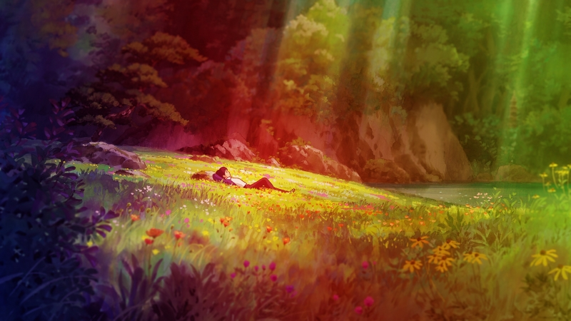 Anime Colourful Garden Man 4K HD Wallpaper