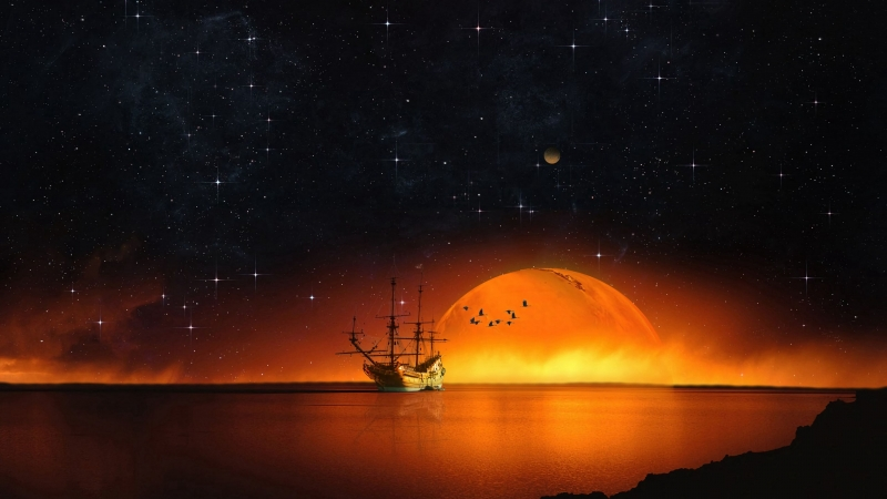 Ship Starry Sky Night Sea 4K HD Wallpaper