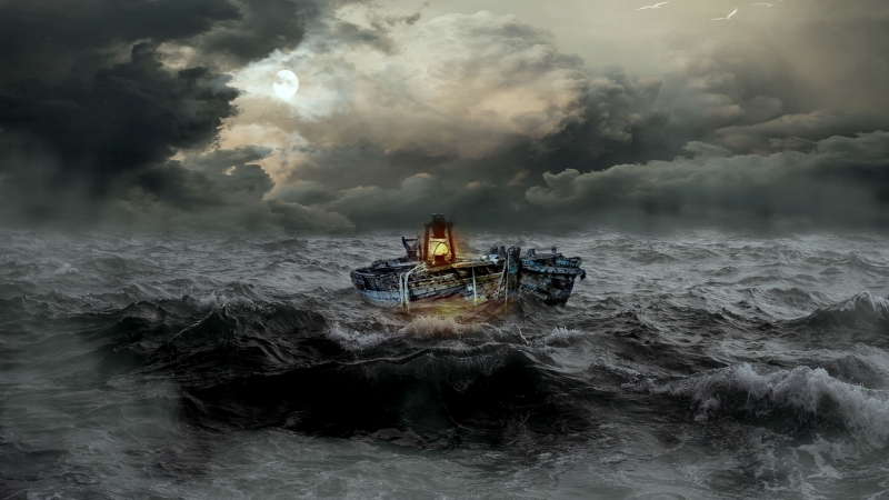 Boat Storm Sea Waves Overcast 4K HD Wallpaper