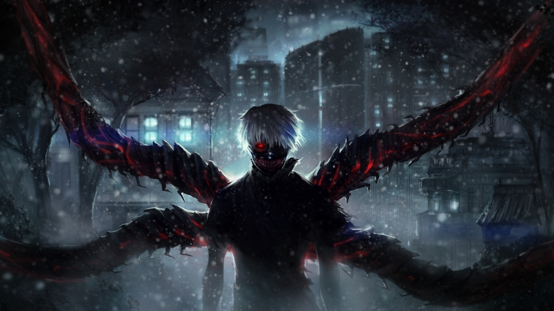 Tokyo Ghoul Night Building Wings 4K 5K HD Wallpaper