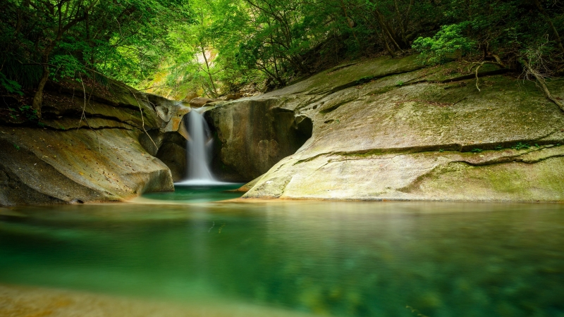Waterfall Cliff Stone Water Trees Forest 4K HD Wallpaper