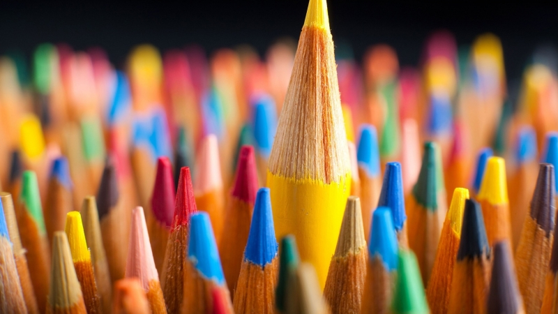 Macro Pencils Colorful 4K HD Wallpaper