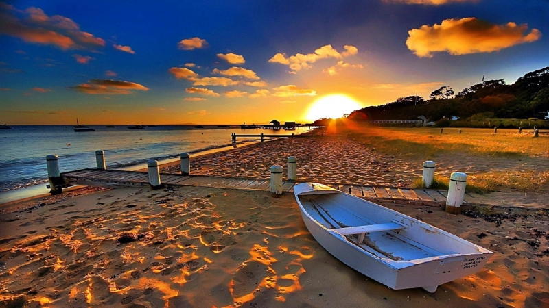 Sky Sunset Shore Sea Horizon Clouds Water Sunray Coast 4K HD Wallpaper