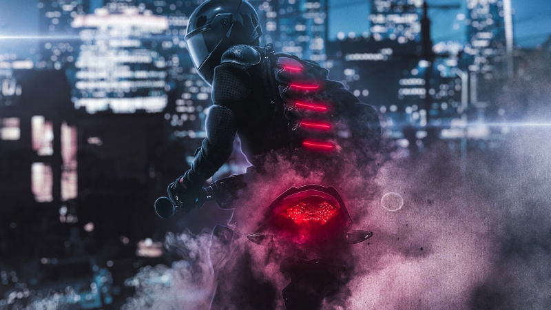 Biker Burnout 4K HD Wallpaper