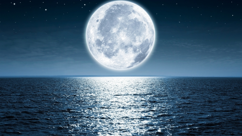 Moon Sea Night Beach 4K HD Wallpaper