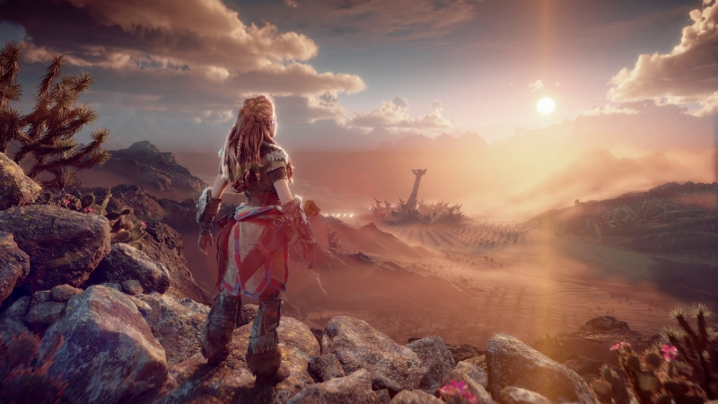 Horizon Forbidden West Girl Rocks Clouds 4K HD Wallpaper