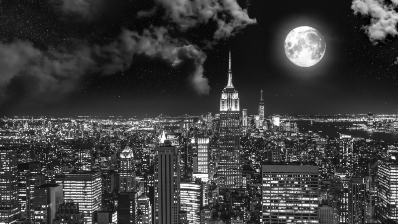 Night City BW Full Moon 4K HD Wallpaper