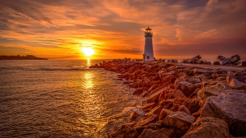 Lighthouse Sunrise And Sunset 4K HD Wallpaper