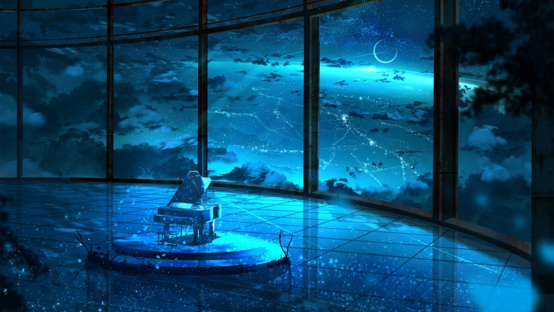 Anime Moon Sky Window 4K HD Wallpaper