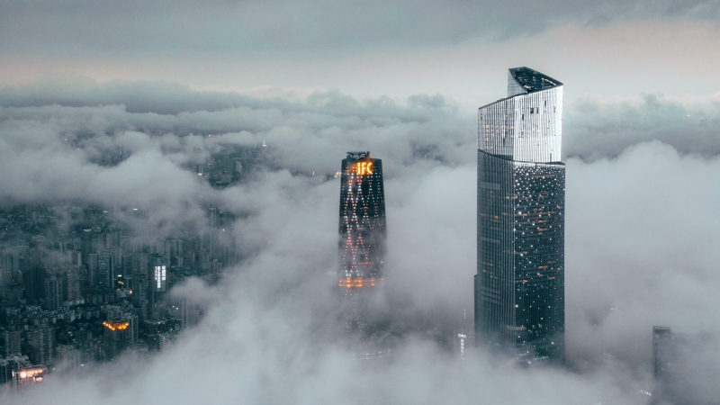 High Rise Building Coverd With Fog 4K HD Wallpaper