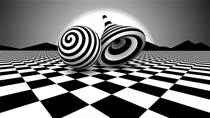Black White Optical Illusion 4K 8K HD Wallpaper