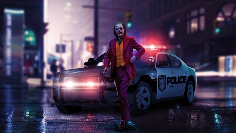 Joker Police Car 4K HD Wallpaper
