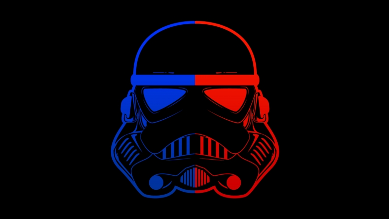 Stormtrooper Blue Red Mask Minimal 4K 8K HD Wallpaper
