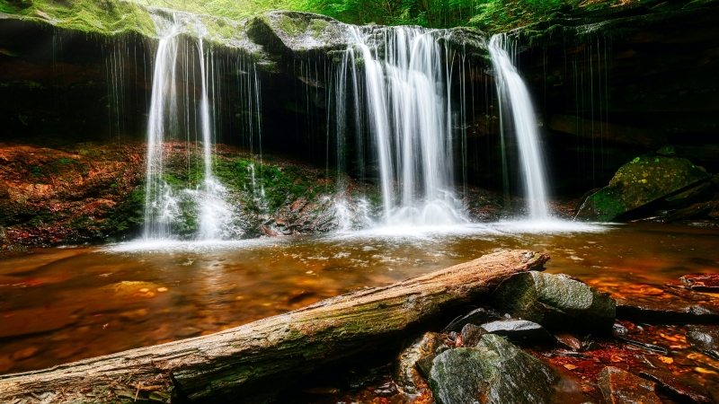 Water Falls On Brown Rock 4K 5K HD Wallpaper