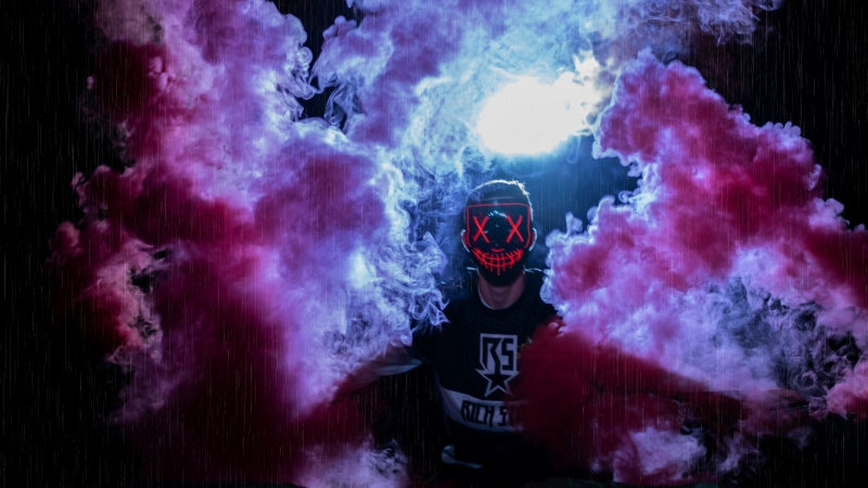 Man Mask Colored Smoke Anonymous 4K 5K HD Wallpaper