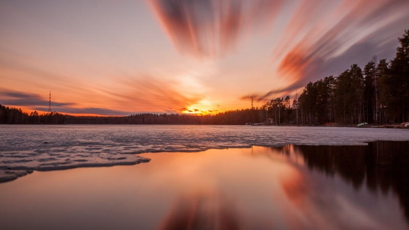 Sunset Lake Ice Trees Sky 4K HD Wallpaper