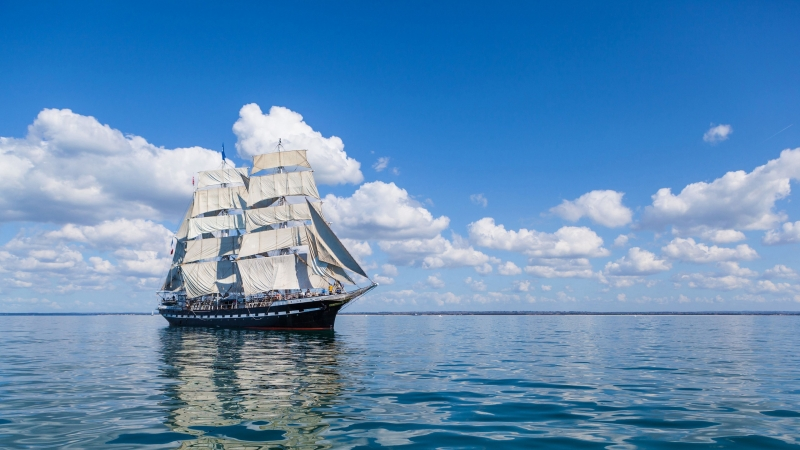 Ship Sea Sky Sail Wave 4K HD Wallpaper