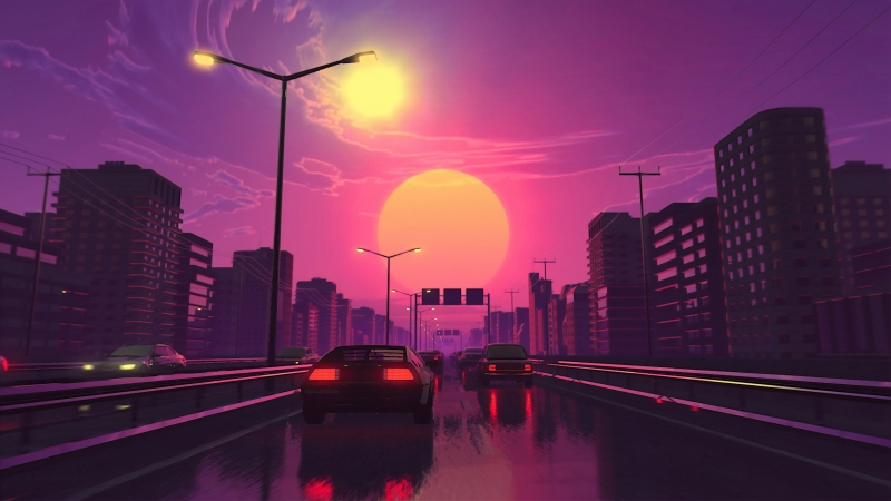 Vaporwave Artwork City Lights Street Car Vehicle 4K HD Wallpaper