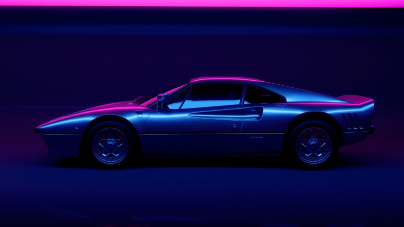 Vaporwave Black Coupe Car Vaporwave Motor Vehicle 4K HD Wallpaper