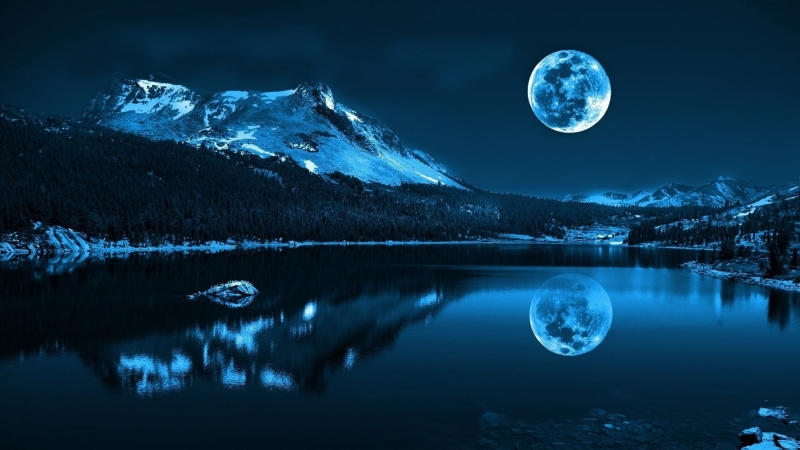 Vaporwave Reflection Of Snowy Mountain On Body Of Water Under Full Moon 4K HD Wallpaper