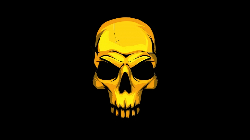 Dark Golden Skull 4K HD Wallpaper