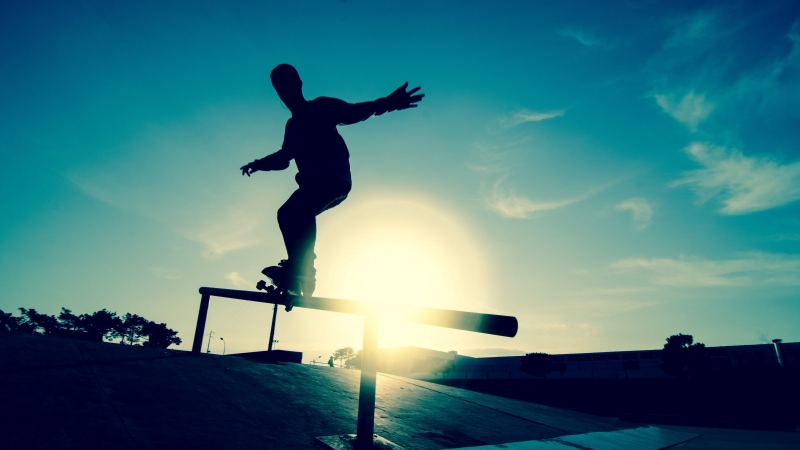 Skate Board Athlete Railings Motion Silhouette Ice Rink 4K HD Wallpaper