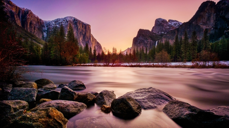 Rocks Lake Mountains HD Wallpaper