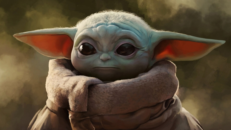 Star Wars Artwork The Mandalorian Baby Yoda  4K HD Wallpaper