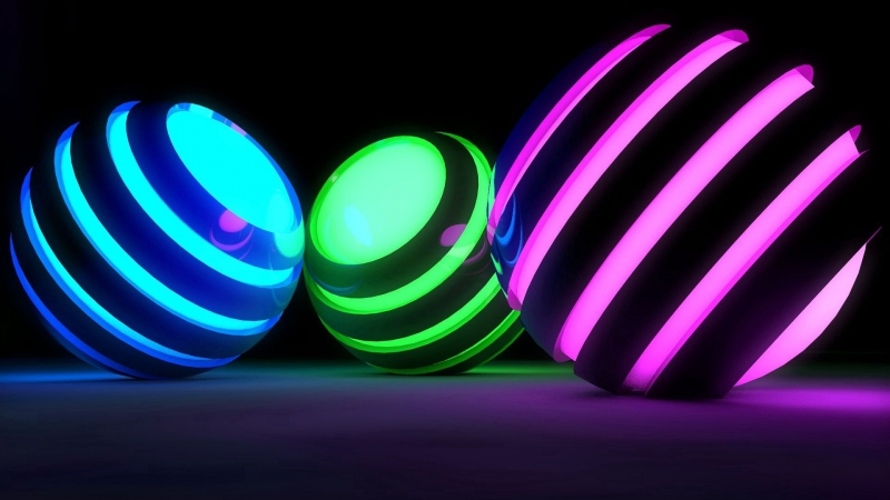 3D Balls Bands Glow Bright HD Wallpaper