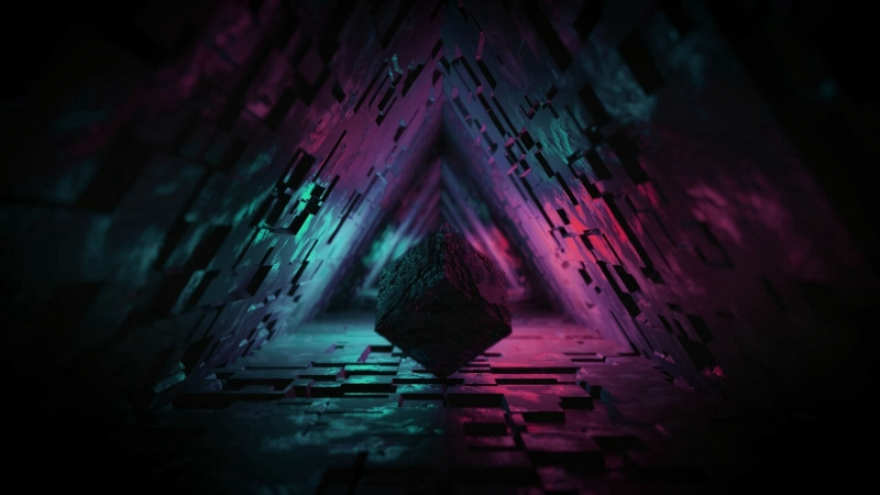 3D Cube Figure Dark Tunnel Backlight  Wallpaper Background 4K HD Wallpaper