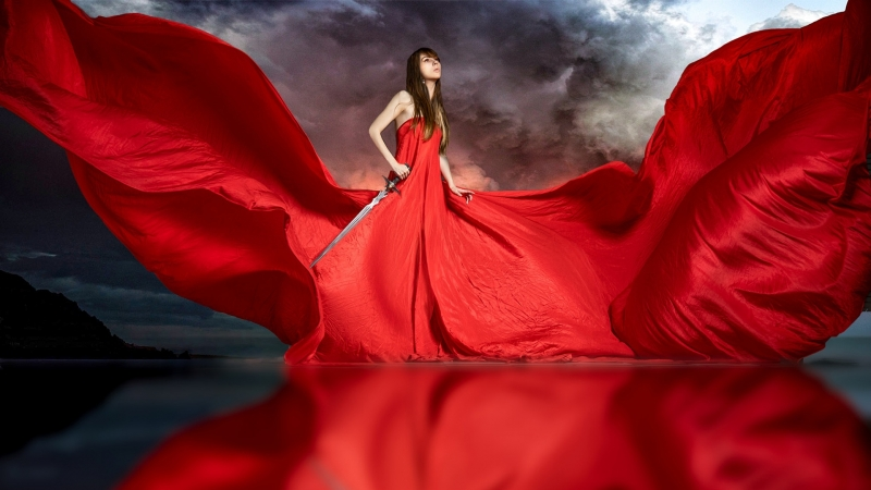 Women  Red Model HD Wallpaper